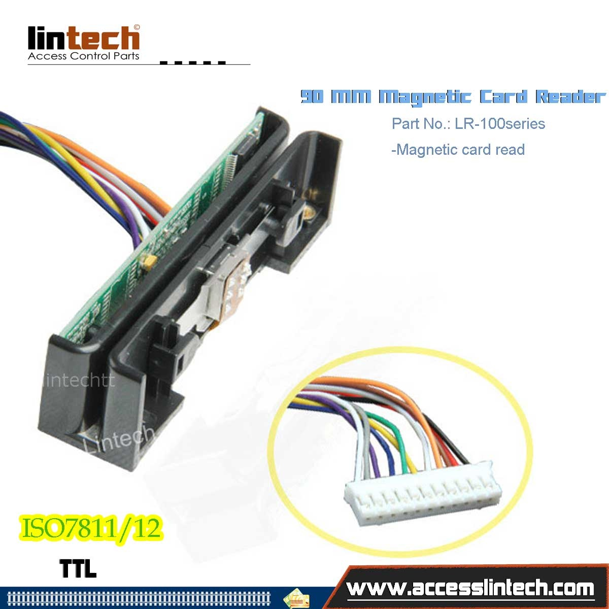 90mm 3 Track TTL Magnetic Strip Card Reader